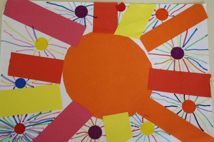 soleil collage et feutre