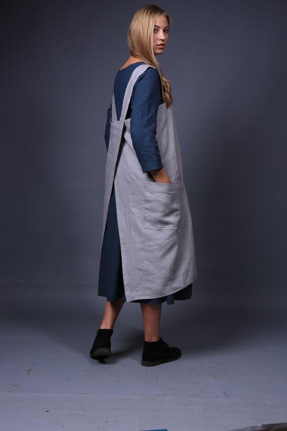 Linen pinafore. Linen Square-Cross Apron / No-ties Apron / Japanese style Apron / Large apron / Pinafore pattern