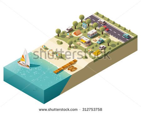 Vector Isometric icon or infographic element representing tourist trailer camping, camping and travel equipment, cars, camper, beach, beach equipment, tent, sea and road - stock vector