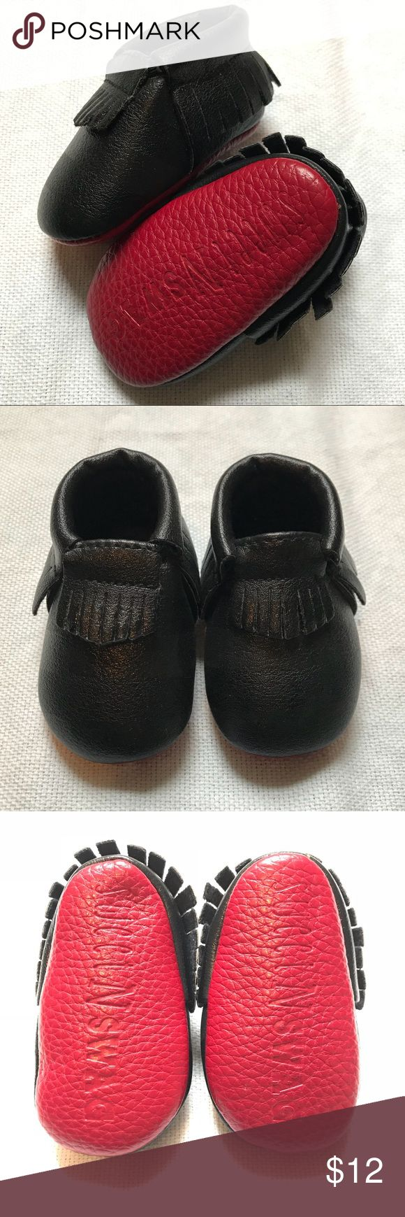 Newborn Baby Moccasins Newborn baby black moccasins with red bottoms.  Size 0 Shoes Baby & Walker