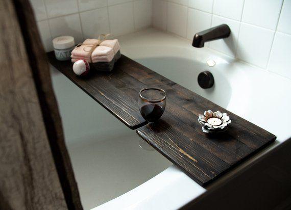 Bathtub Tray Bathtub Caddy With Wine Glass Holder Bathroom Decor Rustic Bathroom Organization Rustic Bathtubs Bathtub Tray Rustic Bathroom Organizers