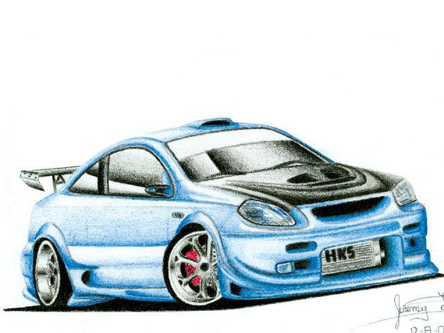 Muscle Car Drawings with shading and pencils