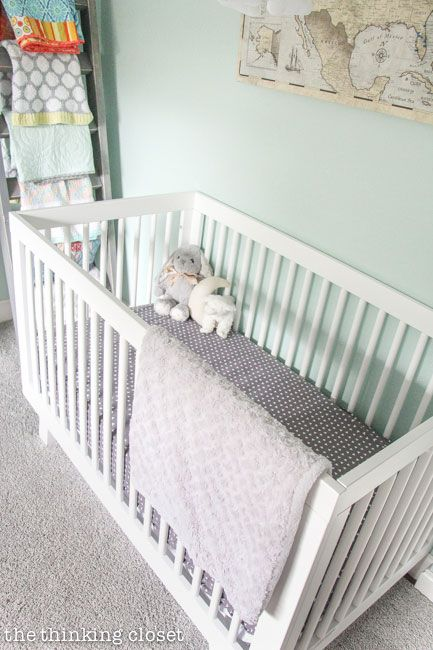 This Fun Adventure Nursery Features Our Gray Crib Sheet A Travel Themed Nursery Is Sweet For A Baby Girl S Room Crib Sheets Gray Crib Sheets Cribs
