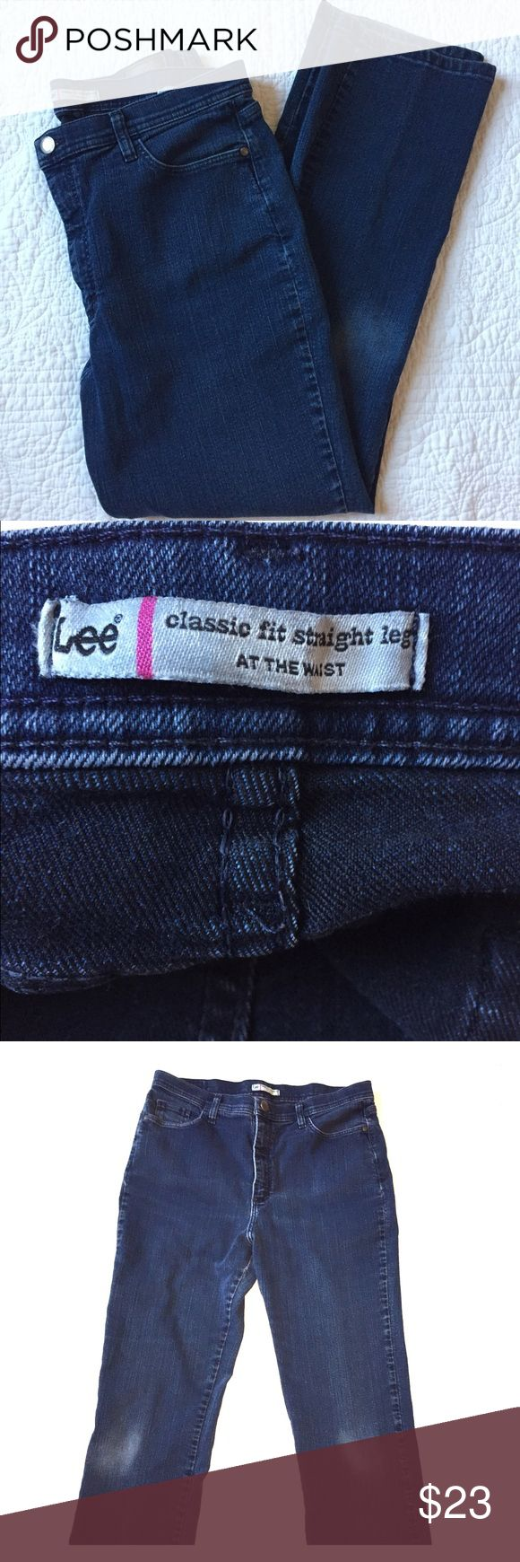 Lee Dark Denim Pants Beautiful Dark Denim Jeans a classic!  Classic Fit Straight Leg at the waist size 16M Pre-owned Great Shape Well made! Lee Jeans Straight Leg