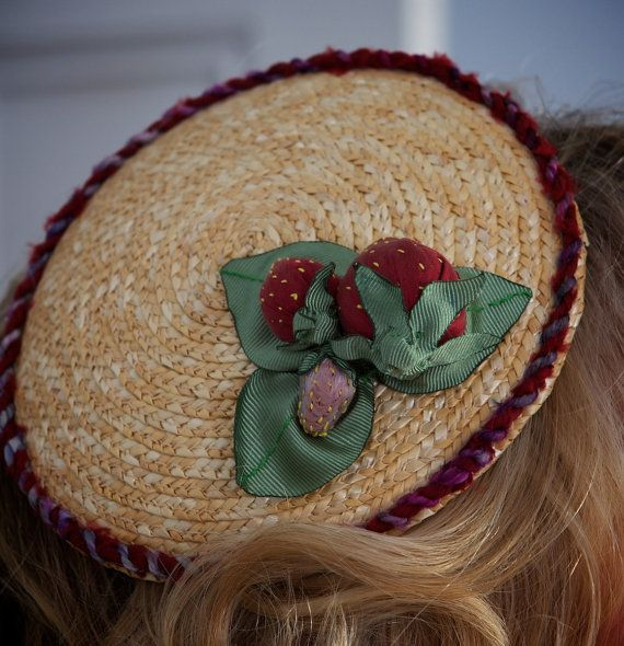 Strawberry hat fun fascinator for races unusual by TallBlueStarry