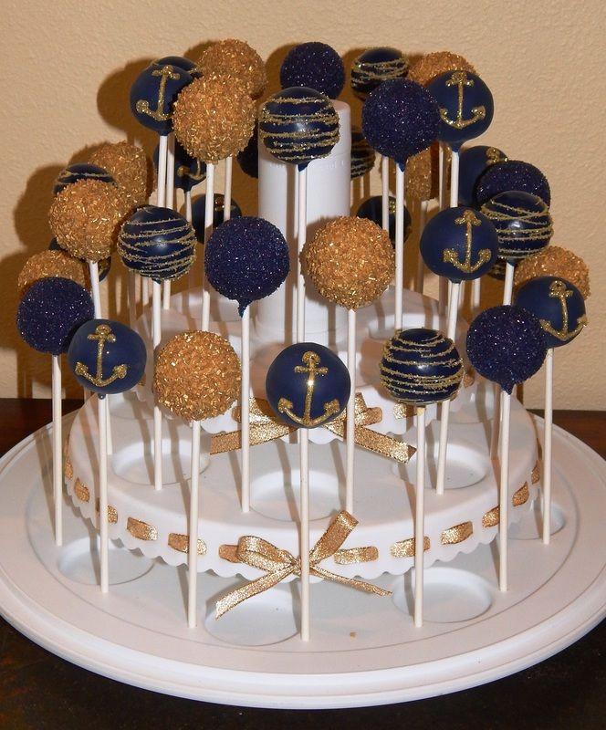 Navy & Gold Nautical Anchor Cake Pops