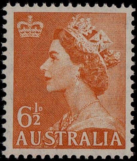ACSC 298B) 1956. Queen Elizabeth II. 6½d. Perforation 15 x 14. Sideways C of A. Pale Orange