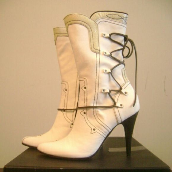 DIESEL Style Lab Boots Brand New - Ivory high heel boots with cream and chocolate details Diesel Shoes