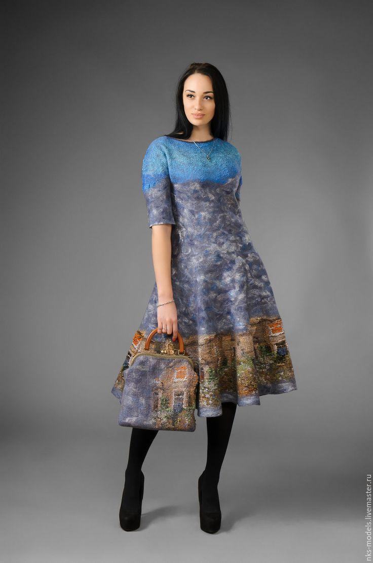 """Купить платья авторское """"Утро"""" - серый, рисунок, Валяние, валяние из шерсти, Мокрое валяние"""