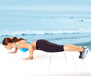 The Staggered Push-Up works your shoulders, chest, triceps, and abs.