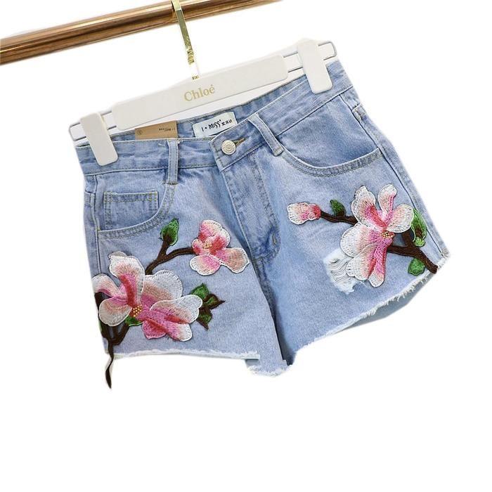 Vintage Floral Denim Shorts