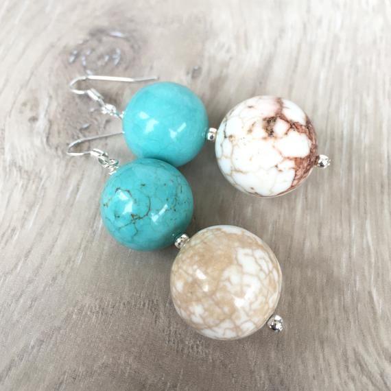White Turquoise Earrings Aqua White Earrings Turquoise Etsy White Earrings Turquoise Statement Earrings Turquoise Earrings