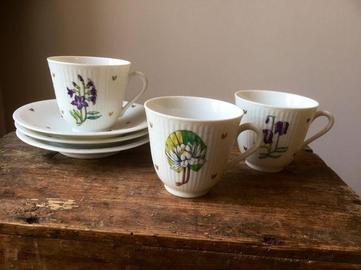 Set of three small coffee cups/ saucers/Swedish Grace/ Rörstrand/ 1950s/designed by Louise Adelborg/Provincial flowers by WifinpoofVintage on Etsy