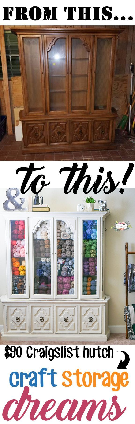 See how I turned a $90 china cabinet from Craigslist into a beautiful yarn and craft supply storage solution!