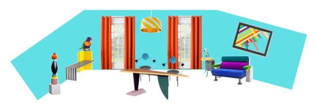 memphis by mer-pi on Polyvore featuring interior, interiors, interior design, hogar, home decor, interior decorating, Americanflat, Sun Zero, Lorikeet and Michele