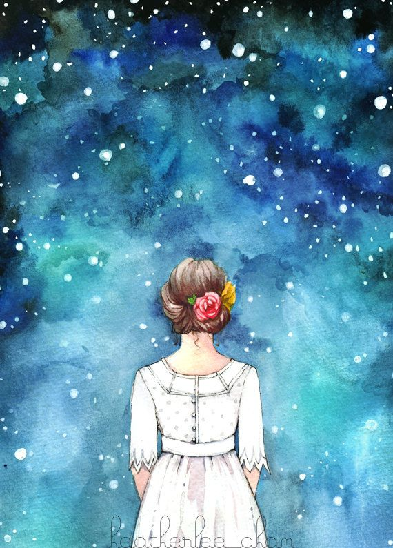 A girl dressed in a white dress with flowers in her hair stares up at the magical starry night sky. A watercolor painting in blue, black, and