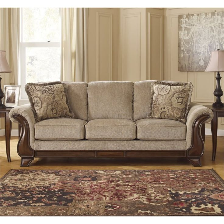 Ashley Furniture Lanett Fabric Sofa In Barley With Images Living Room Furniture Sale Ashley