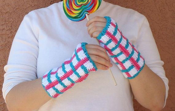Hoooked Pink, Turquoise Blue, and White Fingerless Gloves for Women - Crochet Wrist Warmers, Fingerless Mittens, Mitts, Arm Warmers by Hoooked, $16.00
