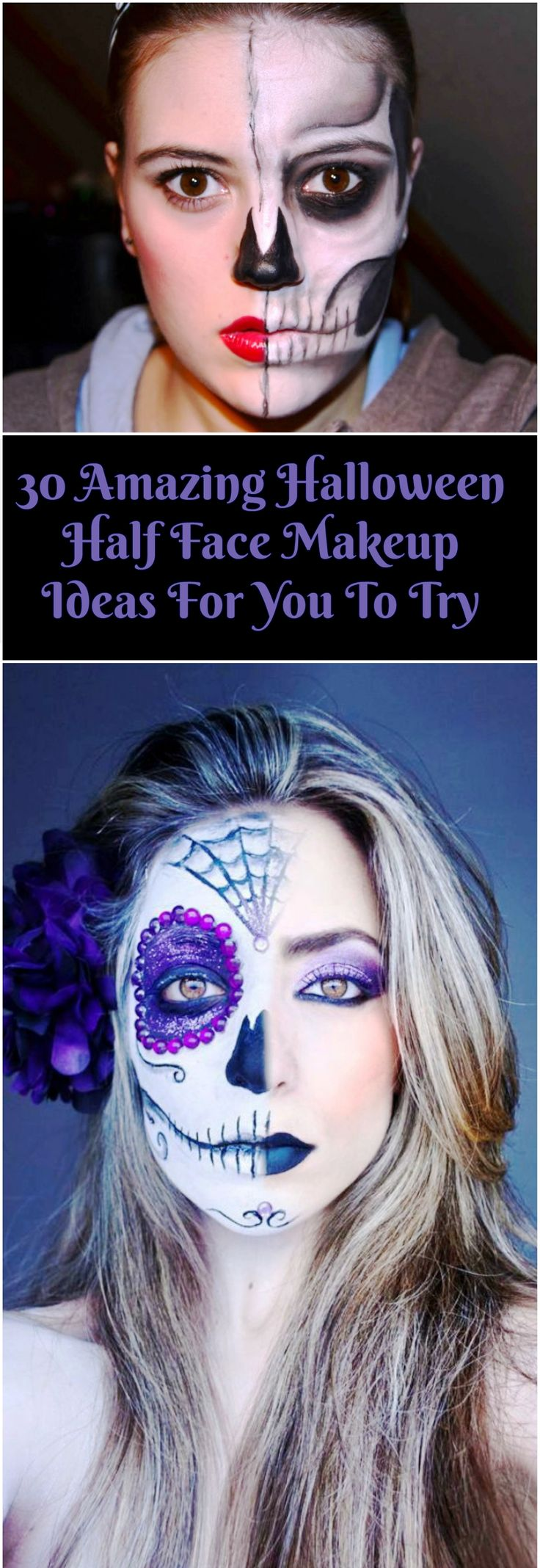 "if you are looking for an inspiration about Halloween Half Face Makeup Ideas you can read the full article. So checkout ""30 Amazing Halloween Half Face Makeup Ideas For You To Try"""
