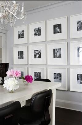 nicely arranged!: Dining Rooms, Ideas, Black And White, Living Room, Gallery Walls, Galleries Wall, Photo Wall, White Frames, Pictures Wall