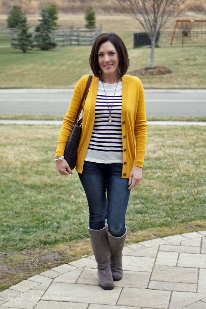 Fashion Over 40: gold cardigan over black-and-white striped tee