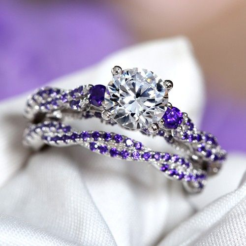 Twist Style Round Cut Purple Cubic Zirconia 925 Sterling Silver Women's Ring/Engagement Ring