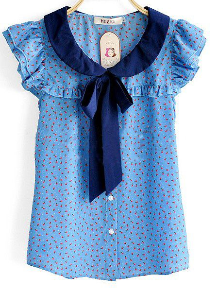 Blue Ruffle Sleeve Floral Print Bow Tie Neck Shirt