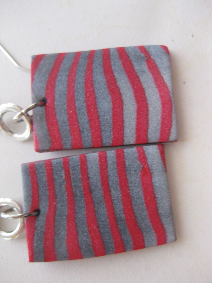 earrings polymer clay red and silver