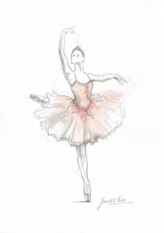Ballerina Illustration Print Pink Ballerina Ballerina by EwaGawlik