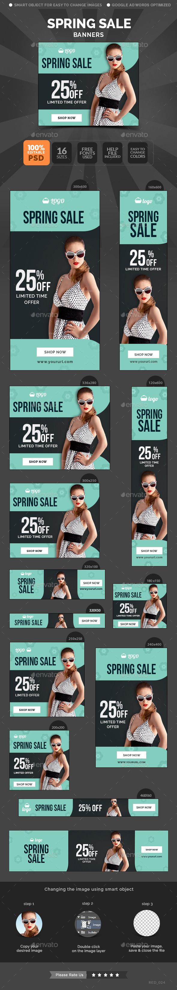Spring Sale Banners Template PSD #banner #webbanner #design Download: http://graphicriver.net/item/spring-sale-banners/10654650?ref=ksioks