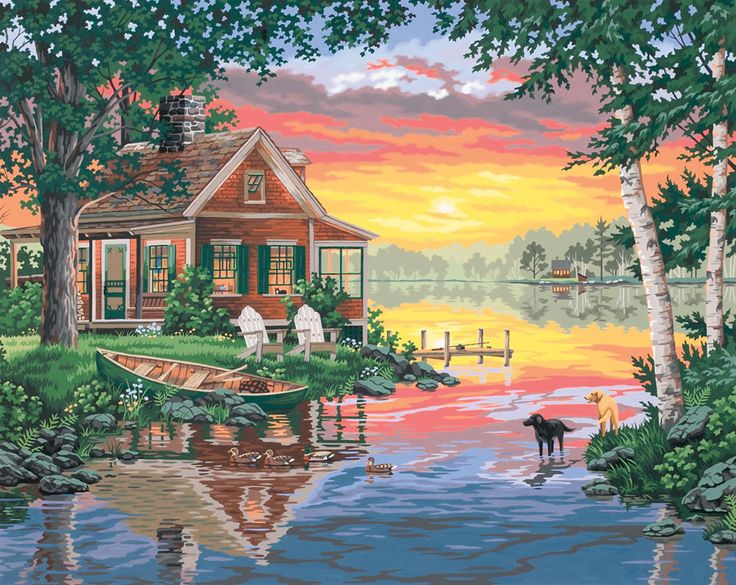 Sunset Cabin Paint By Number Kit Paintworks Dimensions