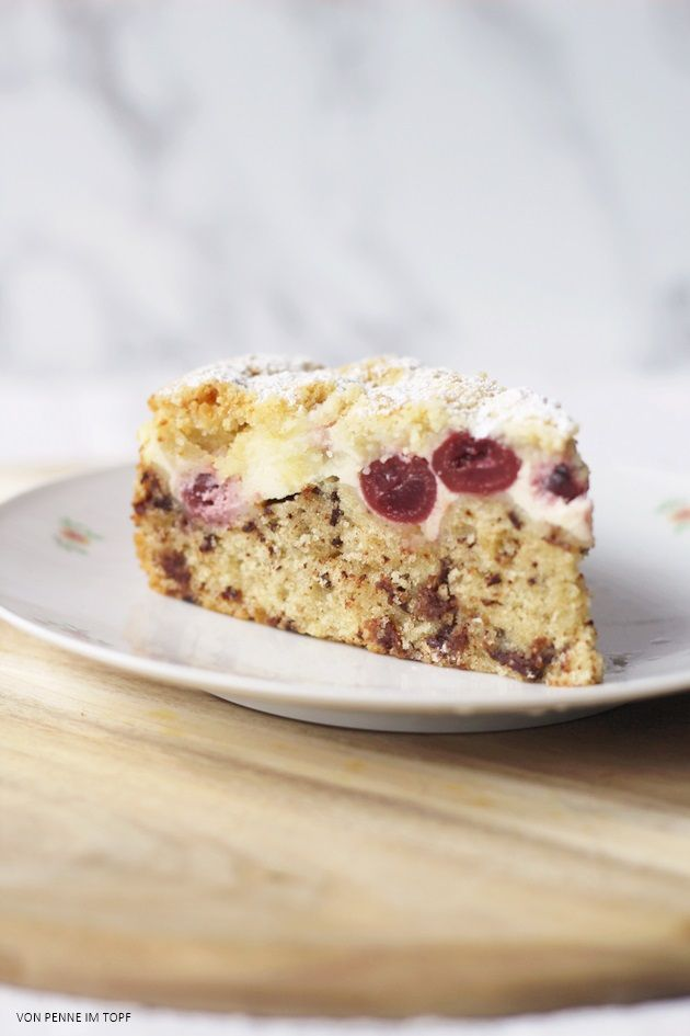 Schoko - Kirschkuchen mit Cheesecake - Schicht und Streuseln | Penne im Topf | Bloglovin'