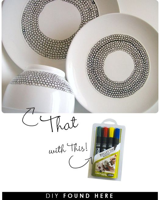 Buy a porcelain paint pen, some plan porcelain, and have at it! What a cute idea! And this would be SO much cheaper than a party at a DIY pottery shop.
