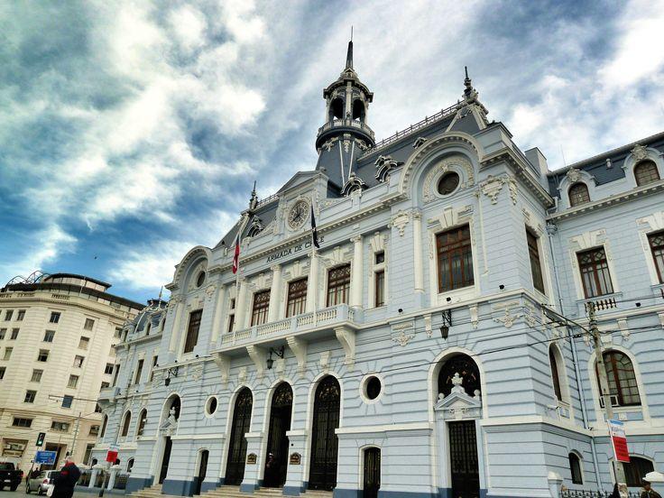 Navy building in Plaza Sotomayor, Valparaiso, Chile