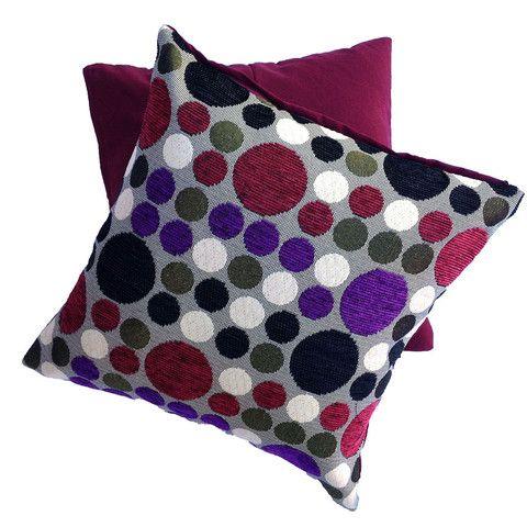 Cushion cover spots dots 40cm black purple maroon red green $15.90