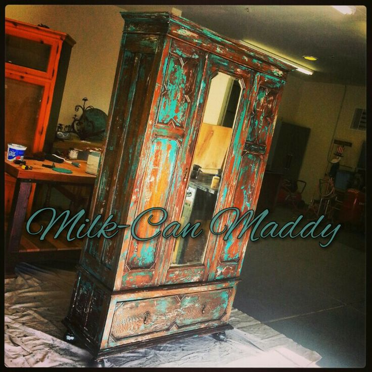 Hand painted late 1800's wardrobe by Milk-Can Maddy!