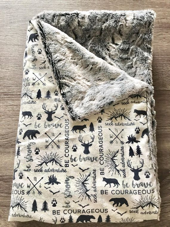 Rustic adventure Blanket, Baby Boys Blanket, Security Blanket, Lovey Blanket, blue baby blanket, baby gift, adventure blanket, arrows, quote This super cute adventure minky blanket is perfect for baby boys. It features woodland animals such as bears and deer with quotes and arrows