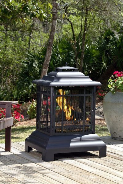 Fire Sense Pagoda Patio Fireplace  - Wood Burning (#02679) - perfect free standing outdoor fireplace for patio entertaining. Modern Blaze