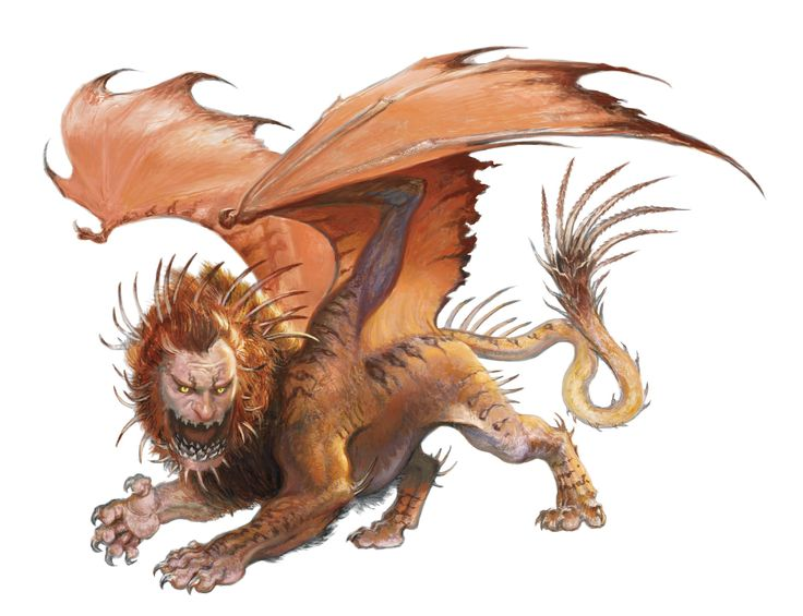Manticore (from the D&D fifth edition Edition Monster Manual). Art by Zack Stella.