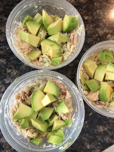 Tuna, Mayo, seasoning, onion, celery, avacado. 3 containers ~ 50 grams of protein and less than 225 calories each.
