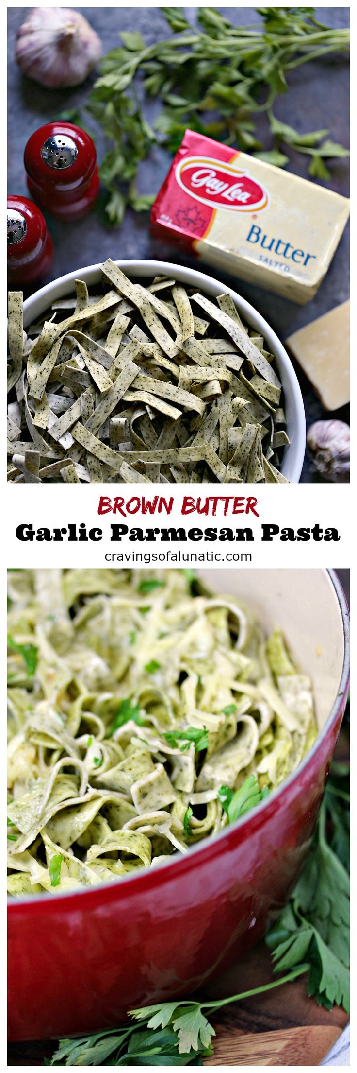Brown Butter Garlic Parmesan Pasta from cravingsofalunatic.com- This recipe is quick and easy to make. The flavour from the brown butter blends perfectly with the garlic in this pasta. Toss fresh parmesan to your heart's content. #sponsored #bornonthefarm