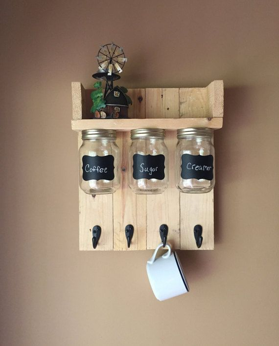 Coffee shelf with hooks to hang mugs shelf and mason by BMTCrafts