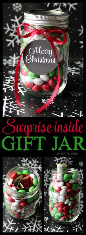 Such a neat way to give someone a surprise gift! Just put the surprise (money or a note) in the middle and fill the jar with candy.