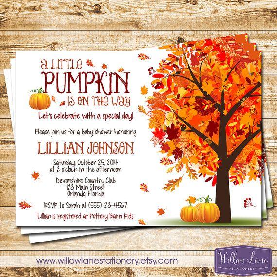 Little Pumpkin Baby Shower Invitation   Autumn Fall Baby Shower Invite    Fall Leaves Fall Tree