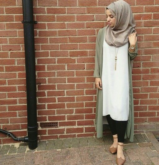 White Shirtdress and Olive Maxi Cardigan, Black Leggins with Hijab