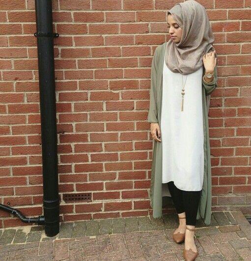 White Shirtdress and Olive Maxi Cardigan, Black Leggins with Hijab