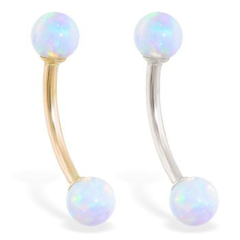 14K real gold curved barbell with White opal balls