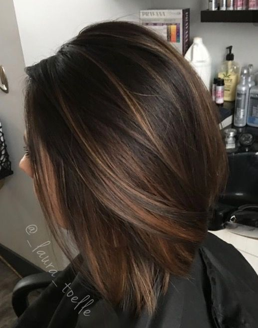 Caramel highlights dark brunette base