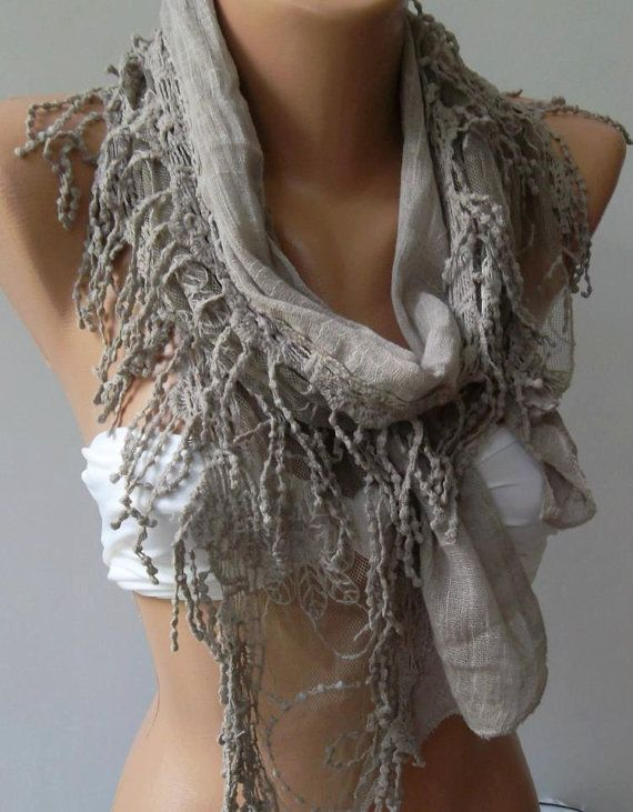 Stone Color  Elegance Shawl // Scarf with Lace Edge by womann,