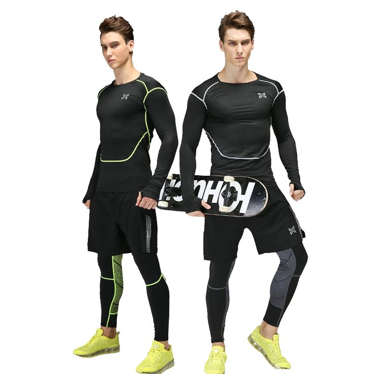 Men Gym Fitness Sports Elastic Stretch Training Suits Mallas Hombre Basketball Football Jersey Compression Running Set